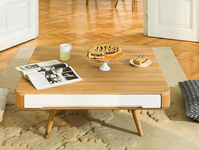table basse gazzda ena tiroirs en mdf laqu blanc dim x x h cm prix uac option kit duentretien uac with entretien meuble chene massif