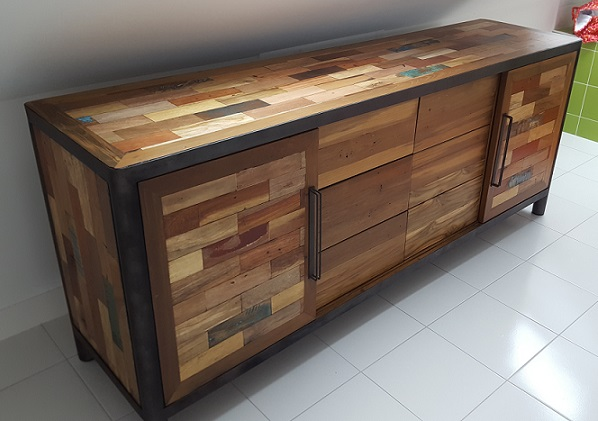 buffets ocean teck recycl m tal 5 versions architeck meubles ethnicraft teck et chene. Black Bedroom Furniture Sets. Home Design Ideas