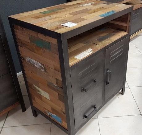 commode indus 2t 1p m tal bois de bateaux architeck meubles ethnicraft teck et chene. Black Bedroom Furniture Sets. Home Design Ideas