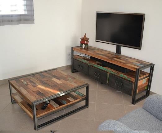 Architeck  Meubles ETHNICRAFT (teck et chene), mobilier MOBITEC, MANUFACTORI -> Meuble Tv Teck Recyclé
