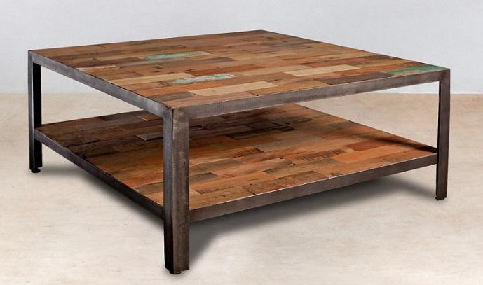 tables basses INDUS teck recyclé  métal (3 tailles)  Architeck  -> Grande Table Basse Carre Indus