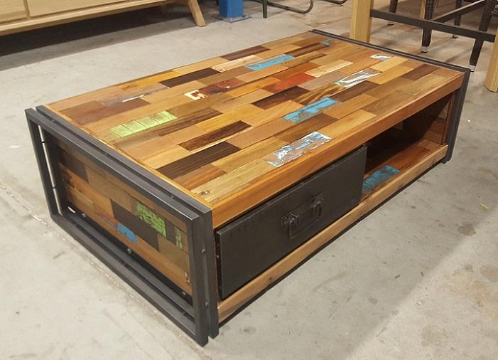 Architeck meubles ethnicraft teck et chene mobilier mobitec manufactori pomax - Table basse teck avec tiroir ...