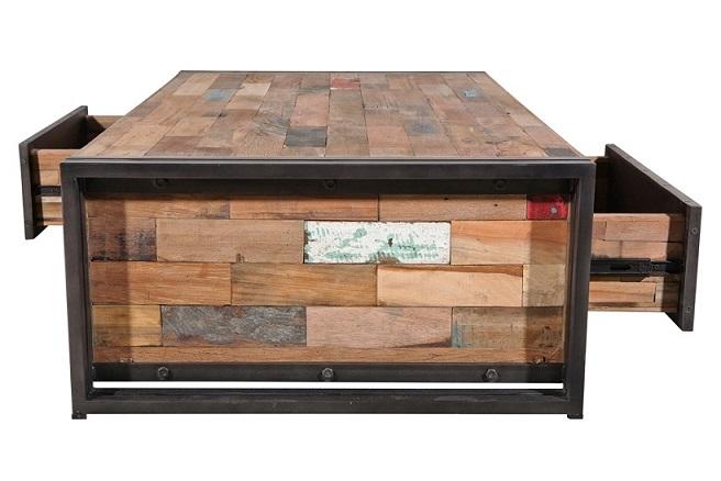 Tables basses samudra avec tiroir teck recycl 2 tailles architeck meubles mobitec - Table basse teck avec tiroir ...
