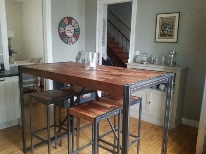 tables hautes samudra teck recycl m tal 4 tailles architeck meubles mobitec mintjens. Black Bedroom Furniture Sets. Home Design Ideas