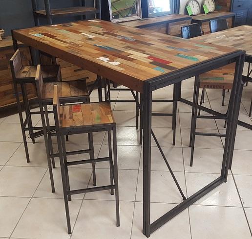table haute samudra teck recycl m tal 4 tailles architeck meubles ethnicraft teck et. Black Bedroom Furniture Sets. Home Design Ideas